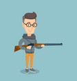 adult hunter holding a hunting rifle vector image vector image