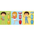Boys and girl brushing teeth vector image vector image