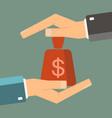 businessmans protecting saving money bag between vector image vector image