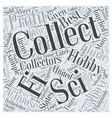 Can a Hobby of Collecting Turn Profitable Word vector image vector image