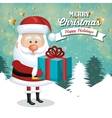 card santa claus holding gift white landscape vector image vector image