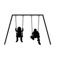 child silhouette on swing vector image vector image