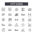 City line icons signs set outline