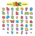 colorful doodle alphabet vector image vector image