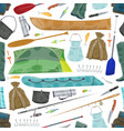 fisherman fishing equipment pattern vector image vector image
