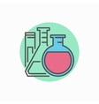 Flasks with test tube colorful icon vector image