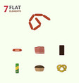 flat icon food set of bratwurst kielbasa vector image