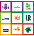flat icon nature set of cachalot seaweed vector image vector image