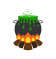 halloween witch cauldron with green potion and vector image vector image