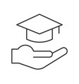 hand and graduation cap education icon set vector image