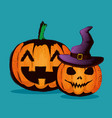 happy halloween card with pumpkin and hat witch vector image