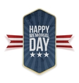 Happy Memorial Day greeting Label and Ribbon vector image vector image
