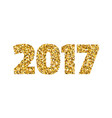happy new year 2017 gold glitter text on white vector image vector image