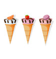 icecream cones set delicious icon flat style vector image