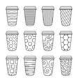 isolated set 12 paper texture pattern cups vector image vector image