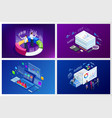 isometric web banner data analisis and statistics vector image