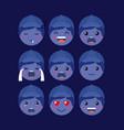 little blue boys emoticon set kawaii characters vector image vector image