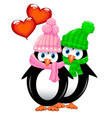 little penguins with balloons vector image