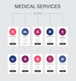 medical services infographic 10 steps ui design vector image vector image