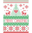 Merry xmas tall xmas pattern with reindeer in red vector image vector image