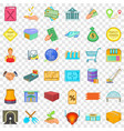 national economy icons set cartoon style vector image vector image