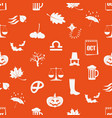 october month theme set of icons orange seamless vector image vector image