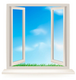 open window with blue sky vector image vector image