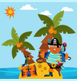 pirate character male standing alone island vector image vector image