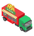 pizza truck icon isometric style vector image vector image