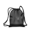 realistic simple black sport backpack bag isolated vector image