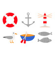red lifebuoy ring ship anchor lighthouse boat vector image