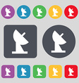 satellite dish icon sign A set of 12 colored vector image