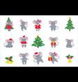 set cute hand drawn mice and new year symbols vector image vector image