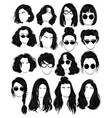 set hairstyles for women collection black vector image vector image