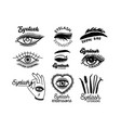 set monochrome icons for eyelashes extension vector image