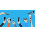 Set of hands holding microphones vector image