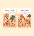 set poster harvest festival and farmer market vector image vector image