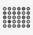 set tires and wheels disc wheel car icon vector image vector image