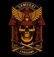skull samurai poster design vector image