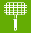 stainless barbecue grill camping basket icon green vector image vector image