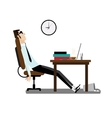Tired office man sitting at desk vector image vector image