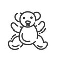 trendy line style icon about sewing toys - teddy vector image