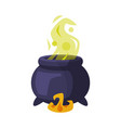 witch cauldron with boiling green potion happy vector image vector image