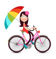 woman with flowers in hair on bicycle with vector image vector image