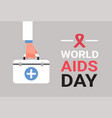 world aids day awareness red ribbon sign hand hold vector image