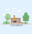 young man sitting on park chair vector image
