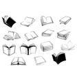 Black and white open books icons vector image