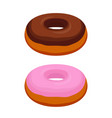 tasty donuts - chocolate pink glaze vector image