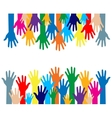 colorful silhouette hands over white background vector image