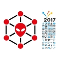 Alien Network Icon with 2017 Year Bonus Pictograms vector image vector image